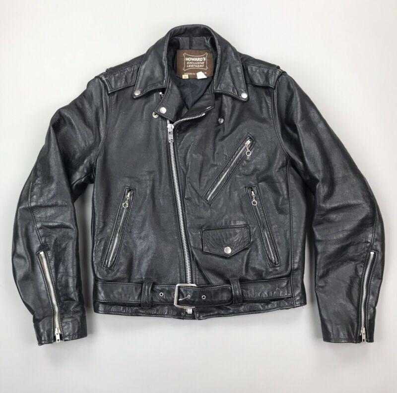 Vintage Howards Exclusive Leathers Biker Jacket Black Zipper USA Made Size 38