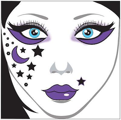 STARS & MOONS GYPSY FAIRY FACE ART DECAL COSTUME MAKEUP ACCESSORY - Gypsy Moon Costume