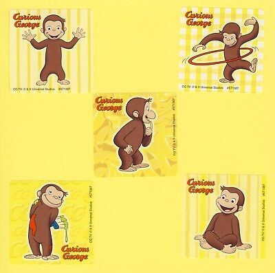 Curious George Party Supplies (15 Curious George - Large Stickers - Party Favors - Rewards -)