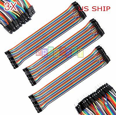 3x 40pcs 30cm 2.54mm Male To Female Dupont Wire Jumper Cable Arduino Breadboard