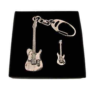 Guitarra Eléctrica Llavero y Pin Insignia en Caja de Regalo Mano Estaño...