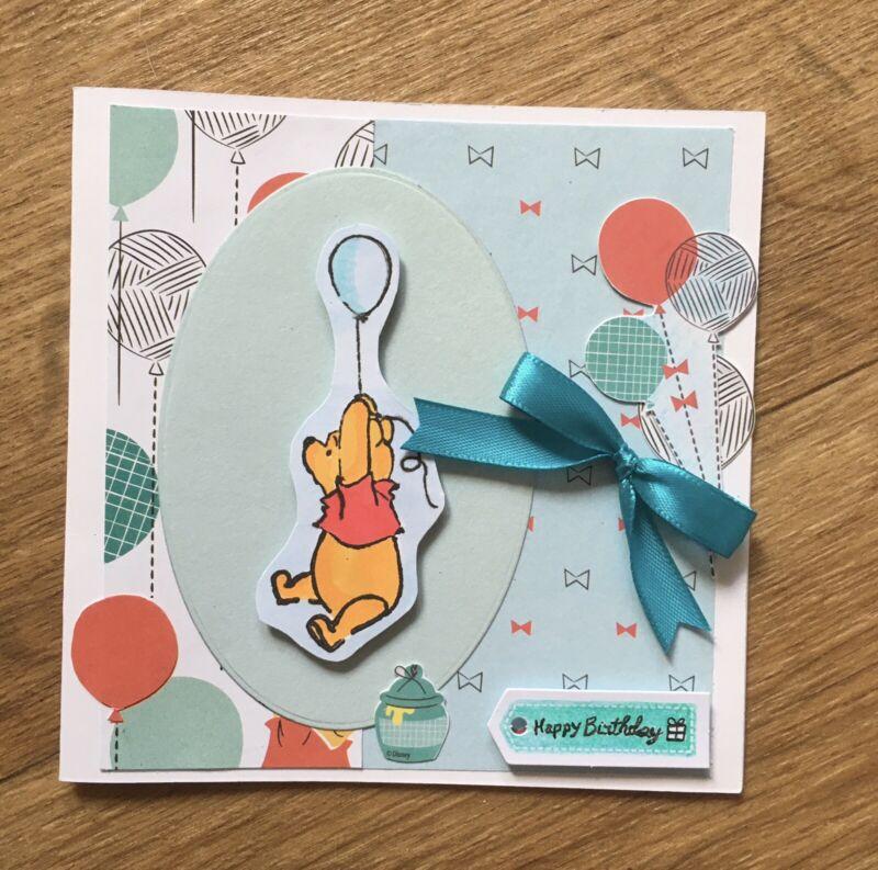 Handmade+Birthday+Card.+Winnie+The+Pooh%2FBalloons.+Happy+Birthday.+Bow.