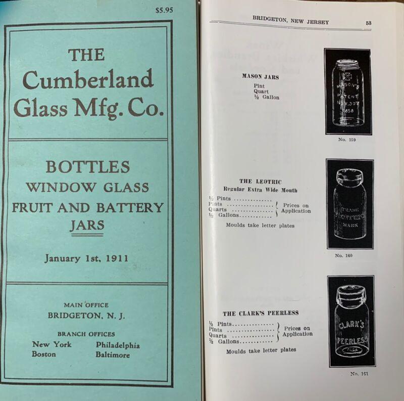 Cumberland Glass MFG Co. 1911 catalog Fruit Jars Bottles