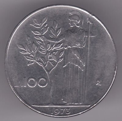 Italy 100 Lire 1973 Stainless Steel Coin - Minerva Standing, Holding Olive Tree