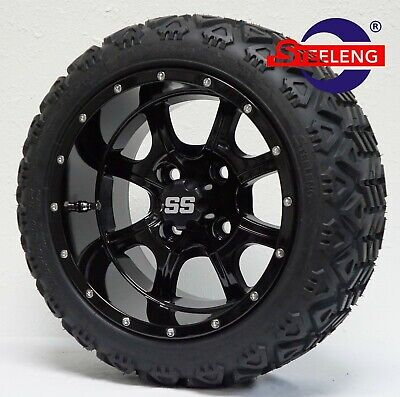 "(4) GOLF CART 12""x7"" BLACK NIGHT STALKER WHEELS/RIMS and 18"" ALL-TERRAIN TIRES"