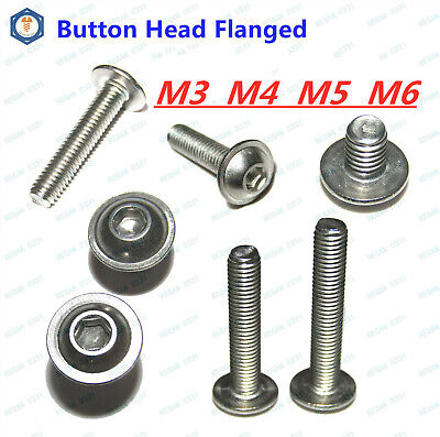 M3 M4 M5 M6 Stainless Steel Button Head Hex Socket Flange Head Washer Screw Bolt