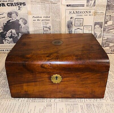 A lovely Antique 19th Century Domed & Inlayed brass Writing Slope Box