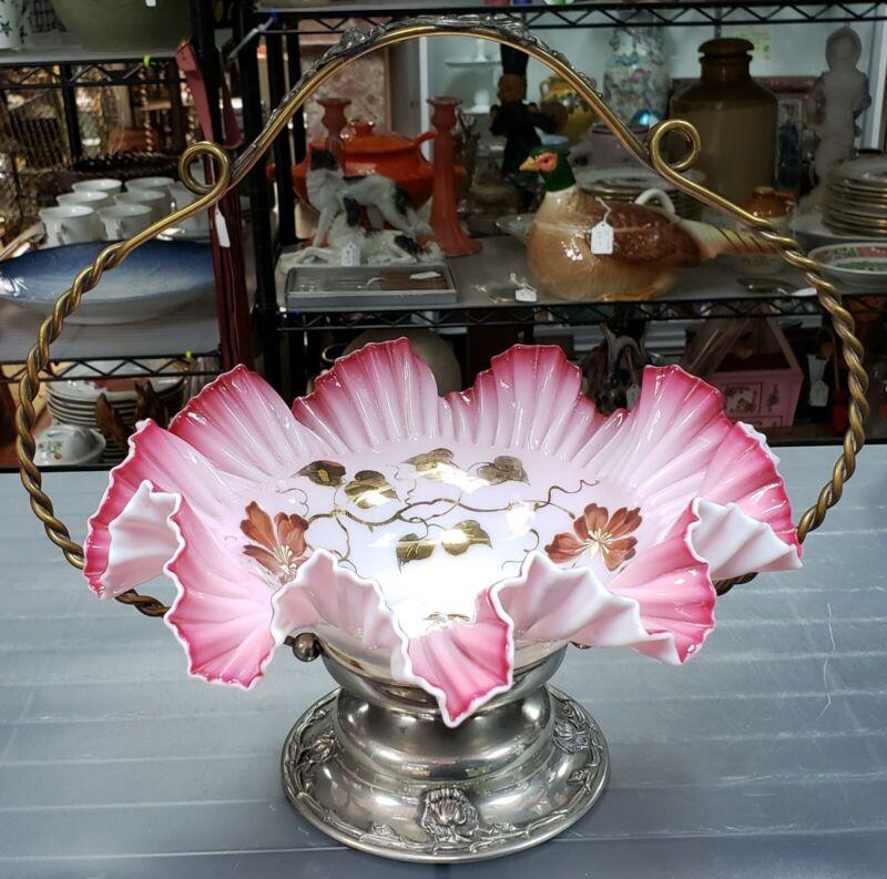 Circa 1900 American Victorian Forbes Silver Co. Silver Plate/Glass Bridal Basket