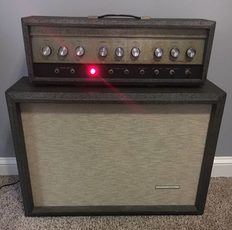 "SILVERTONE 1484 TWIN TWELVE-2X12"" PIGGYBACK GUITAR TUBE AMP-1960s-Rare!"