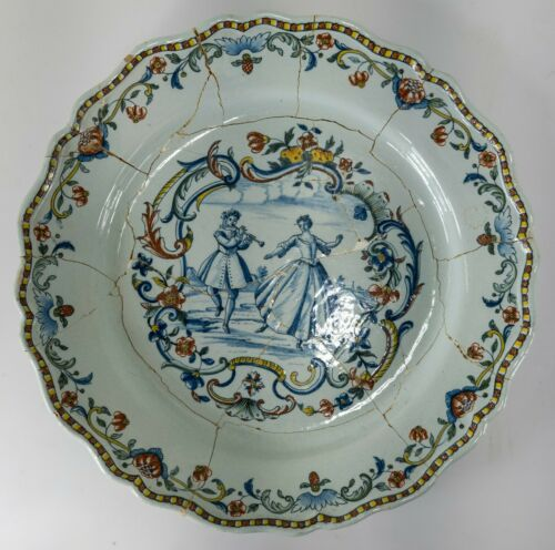 """Large 15"""" Antique French Faience Polychrome Delft Charger Gallerie Vandermeersch"""