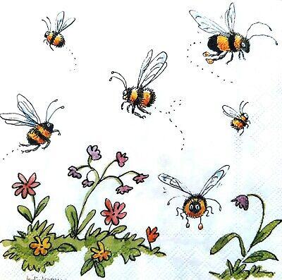 6 Vintage Cocktail Paper  Napkins (25cm x 25cm) Decoupage Dancing Bees