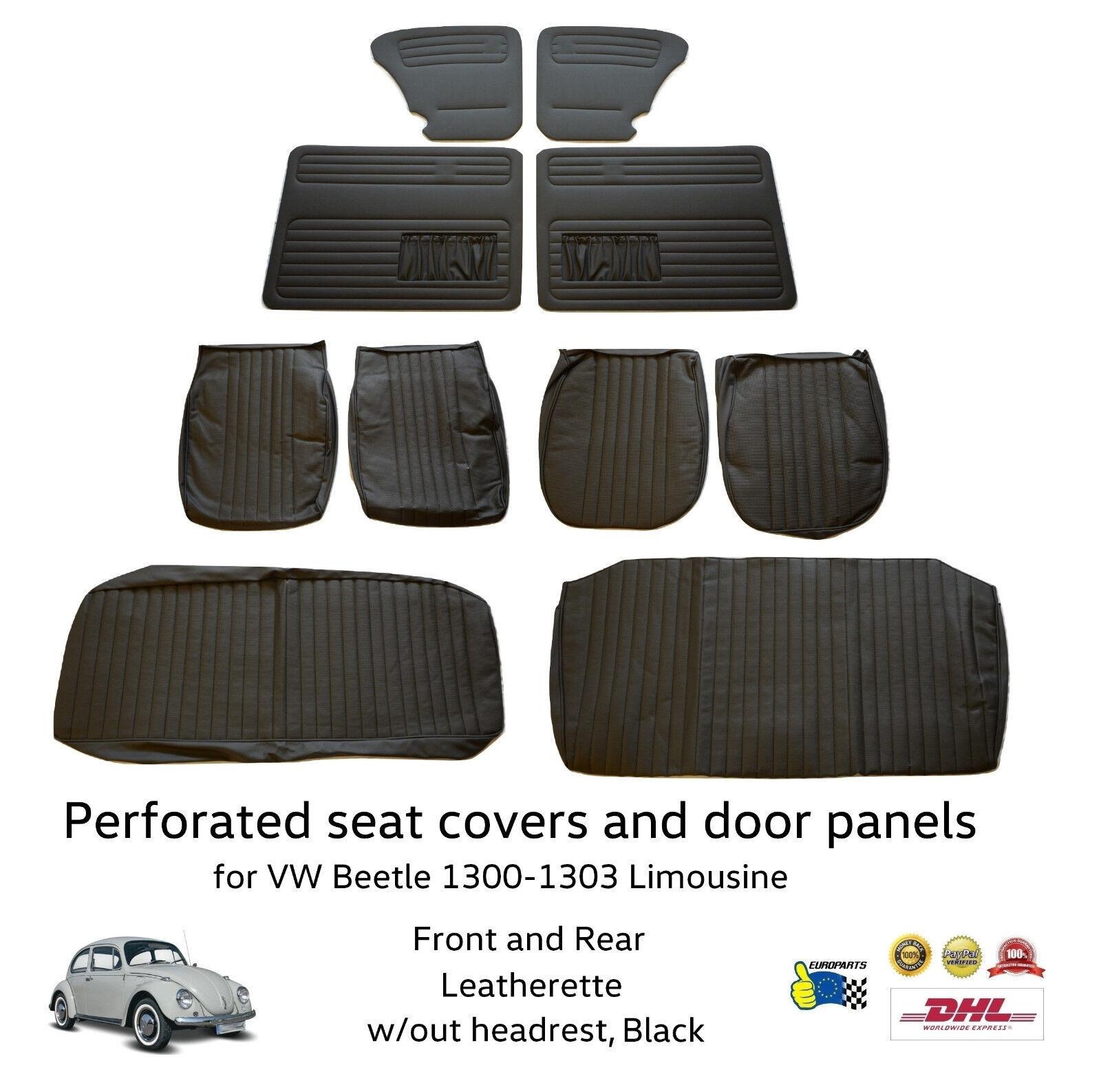 Volkswagen VW Beetle 1300 - 1303 Seat Cover and Door Panel Set 10 pieces Black