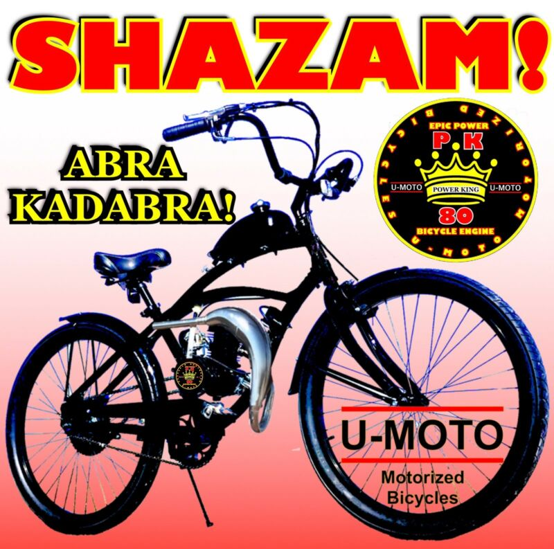 """26"""" BIKE WITH NEW 2-STROKE 66CC/80CC MOTORIZED BICYCLE KIT AND POWER PIPE"""