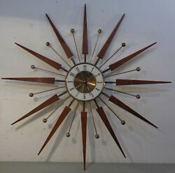 VTG Mid Century Modern Atomic Elgin Starburst Sunburst Wall Clock 30.5 1960's