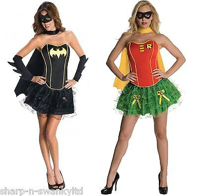 Damen Sexy Batgirl und Rotkehlchen Super Hero Kostüm Kleid Outfit 6-18