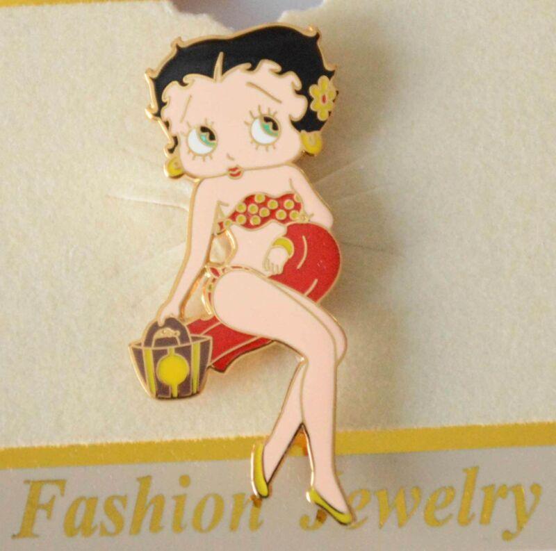 Betty Boop Pin / Brooch / Gold-tone / Beach Babe ~ Red Bikini / NEW