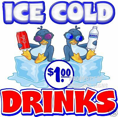 Ice Cold Drinks 1 Price Decal 14 Concession Restaurant Food Truck Sticker