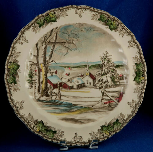 """Johnson Brothers: """"Friendly Village"""" 14"""" Chop Serving Plate Made in England"""