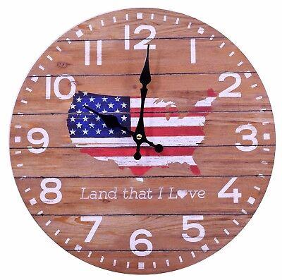 Wood Wall Clock American Flag 13