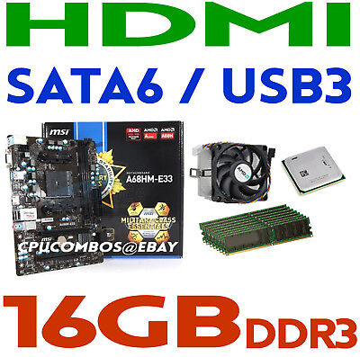 GAMING COMBO AMD A4-4000 CPU+16GB DDR3 RAM+MSI A68HM-E33 HDMI Motherboard