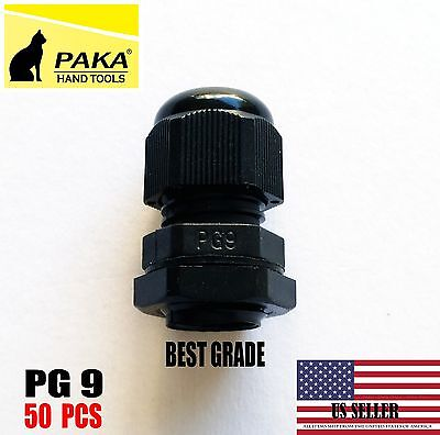 Durable Waterproof Black Nylon Cable Connector Gland Dia. 4-8mm Pg9 - 50 Pcs