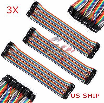3X 40pcs 30cm 2.54mm Male to Male Dupont Wire Jumper Cable Arduino Breadboard