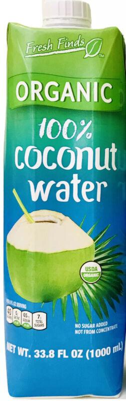 1 Count Fresh Finds 33.8 Oz USDA Organics 100% Coconut Water No Sugar Added