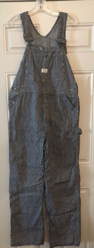 Vintage Sears Union Made Engineer Bib Pockets Overalls 36x31 Button Fly Navy