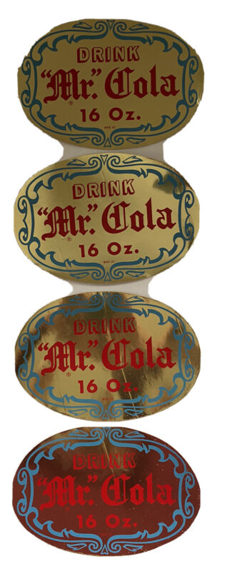 Mr Cola 16 Oz Bottle Window Decal Advertising Set Of Four New Old Stock
