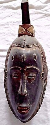 Ghana African Mask Tribal Wood Hand Carved Vintage Wall Art