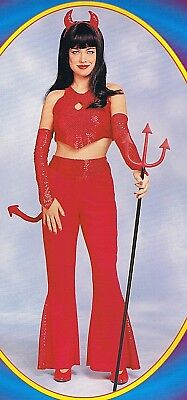 Devil Girl Red Hot Sexy Costume Sequin Halter Crop Top Horns Tail Flared Pants - Red Devil Girl Kostüm