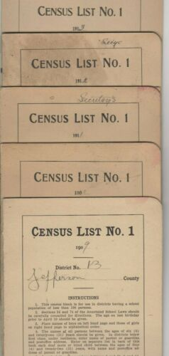 11 Census Booklets-Jefferson County-Colorado-1909 Thu 1918-District 13-Genealogy