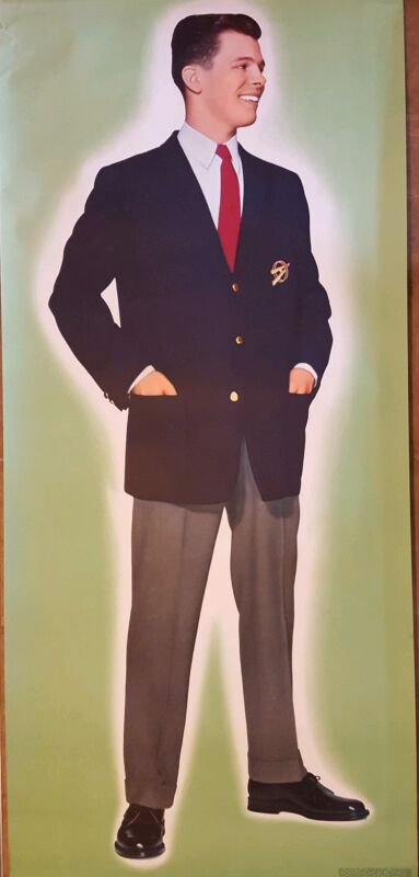 """Vintage Full Size Poster of Boy Scout In Dress Uniform  65"""" x 29 1/2"""" 1960s"""