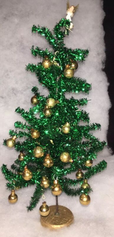 Vintage Bottle Brush Christmas Tree Angel Top Ornaments