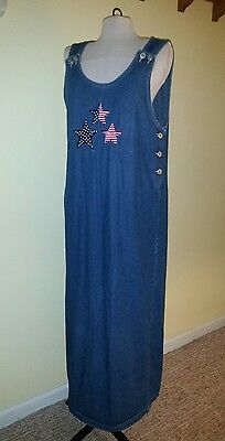 Blue Jean Jumper Modest Lindsey Michelle Dress Star Appliques Women's SZ L - Blue Jean Jumper