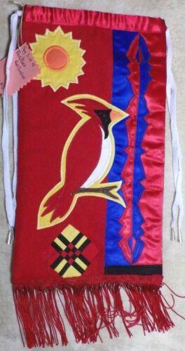 SACRED FIRE Patchwork East Red Cardinal BIRD Dance PowWow Bag Ribbon Purse
