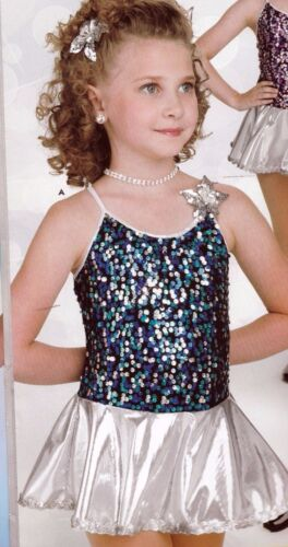 New  Dance COSTUME sequin skirted leotard blue silver Large chld pageant dressup
