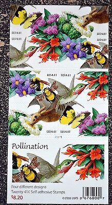2007USA 4153-4156 41C POLLINATION - BOOKLET OF 20  MINT  BUTTERFLY  CRISP