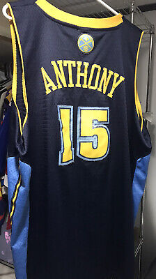 Reebok Mens 2XL +2 Length Denver Nuggets #15 Carmelo Anthony NBA Jersey Used