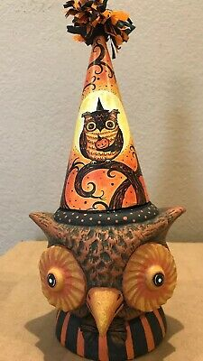 Bethany Lowe Johanna Parker Sir Hoots A Lot Owl Candy Container-retired