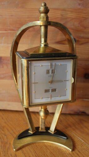 Imexal Clock Thermometer Barometer Hygrometer Mid Century Brass Rotating Vintage