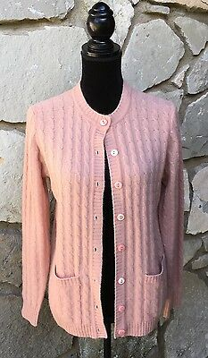 Women's Vintage Sakowitz Pink Lambswool Angora Cardigan Cable Knit Sweater Sz L