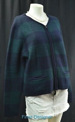 Requirements 100% Wool Cardigan Sweater Coat Ski jacket plaid zip size L VTG NEW