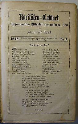 "LEIPZIGER ""RARITÄTEN-CABINET"" / ALTE ZEITUNG JAHRGANG 1858 / KRAMER / SELTEN!"
