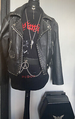 🔥VINTAGE BIKER🔥Studded Real Leather Jacket Goth Rocker Size L