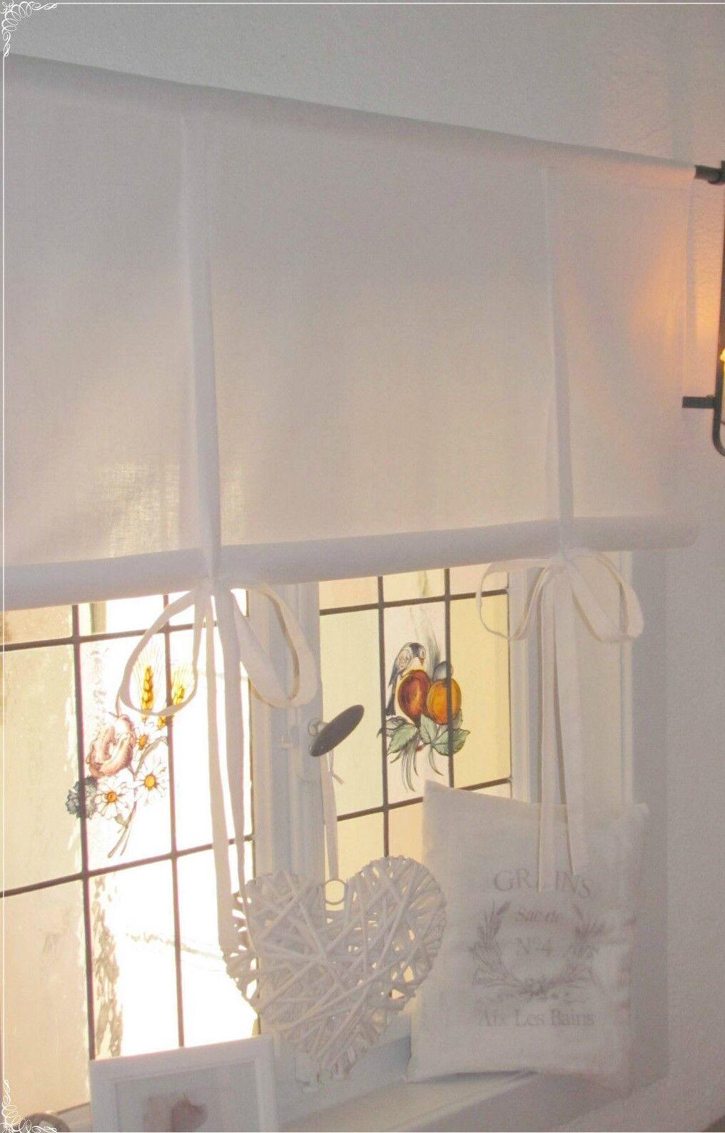 EMILIA Offwhite Vorhang Gardine 2 x 140x250 Bestickt Spitze Bandaufhängung Shabb