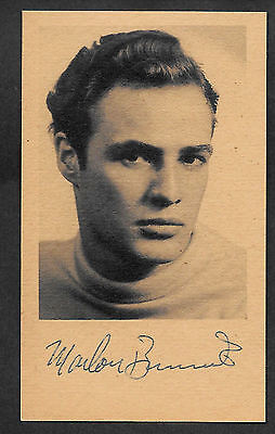 Marlon Brando Autograph Reprint On Genuine Original Period 1950s 3x5 Card