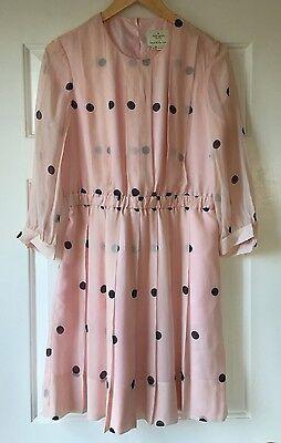 NEW Kate Spade Tiny Spotlight Pleated Dress Women's Size 10 Pink Silk Polka Dot