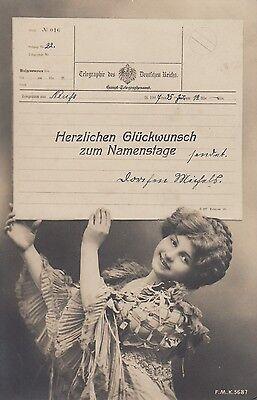 Postkarte - Herzlichen Glückwünsch zum Namenstage / Kind mit Telegramm