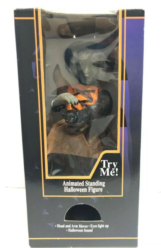 VTG GEMMY HALLOWEEN FACTORY ANIMATED WITCH PETTING HER CAT 1996